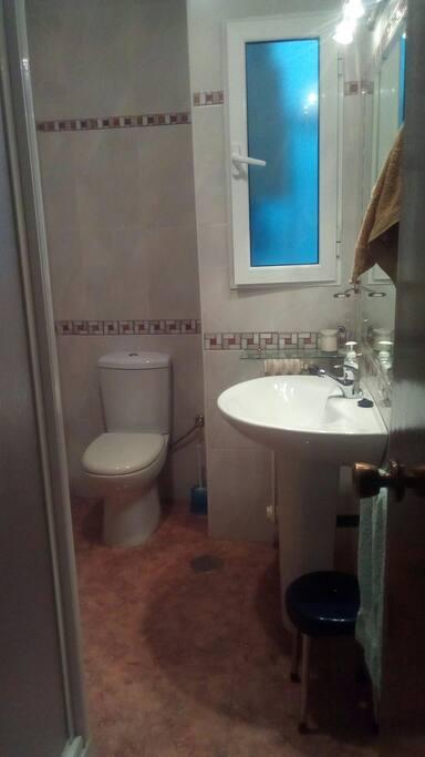 Cuarto de baño con plato de ducha.