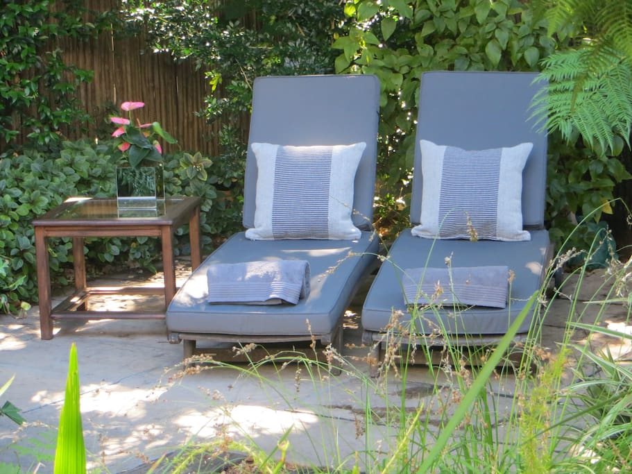 Relax on the recliners under the large oak tree