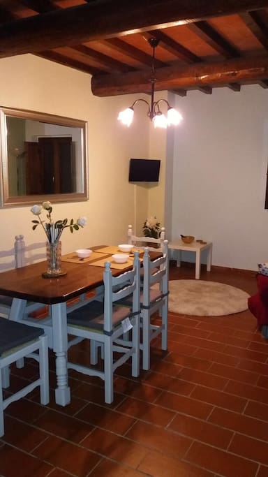 Recently renovated rustic Tuscan furniture throughout the apartment