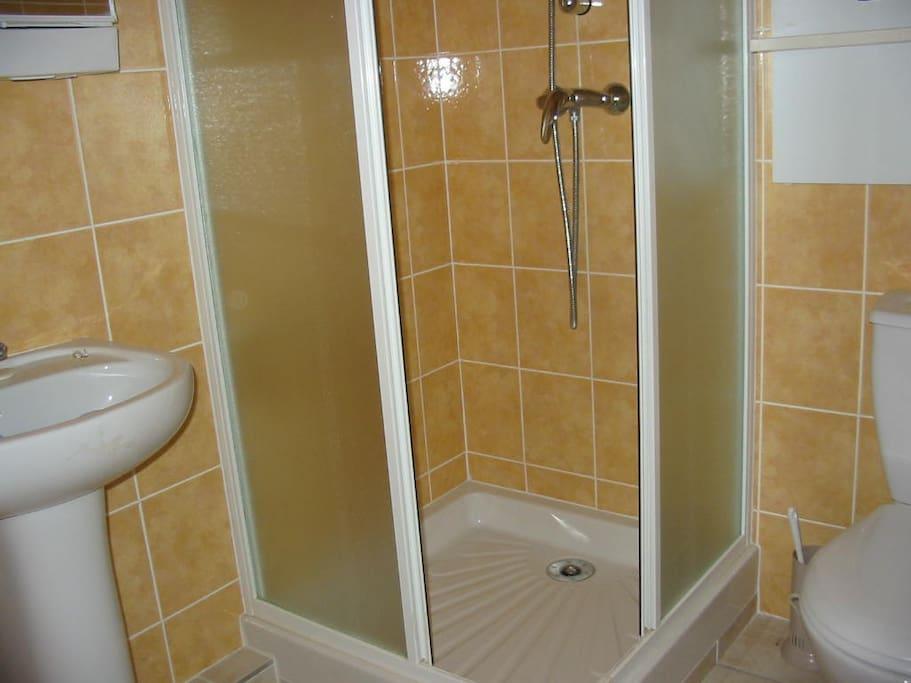Salle de bain avec lavabo, wc, douche