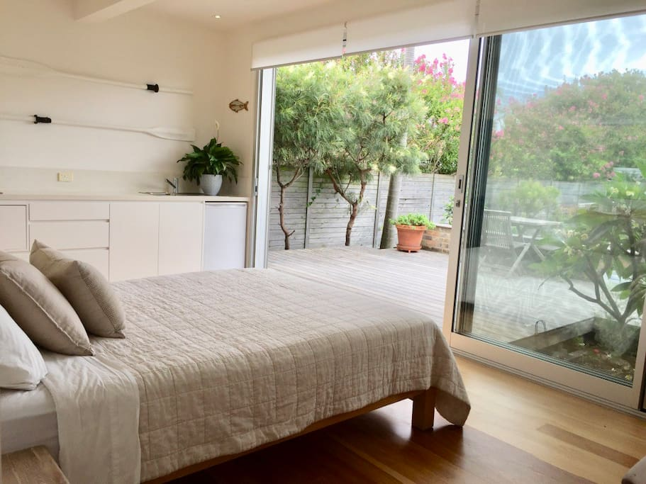 The Garden Room overlooks a large deck which is for your exclusive use.