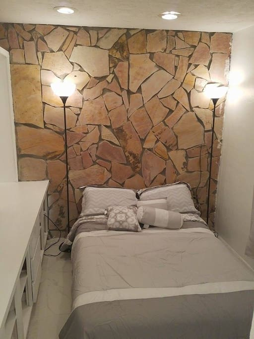 Separate bedroom with beautiful stonework!!!