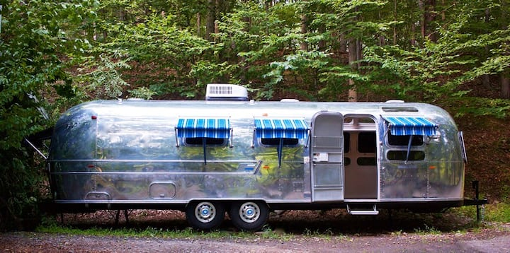 Kerhonkson, NY -    Airstream  in pine forest