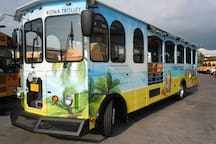 Ride the Kona Trolley up and down Alii Drive from Walmart to Keauhou Bay.