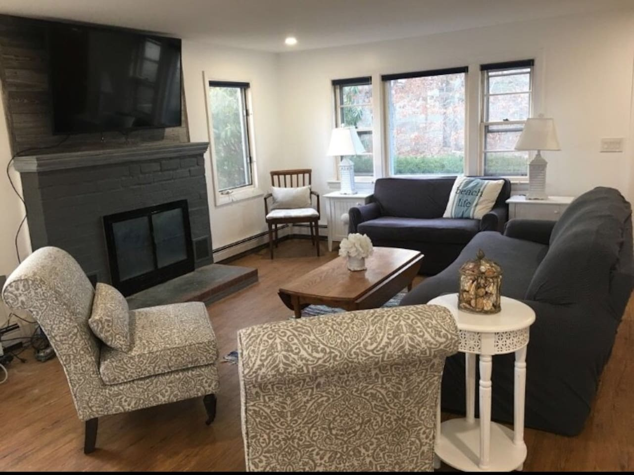 Over the Winter, we completely revovated this waterfront cottage. Here is the bright open family room with water views. Also, a Brand new Master suite including King bed, brand new full master bathroom. New easy care Allure wood flooring throughout.