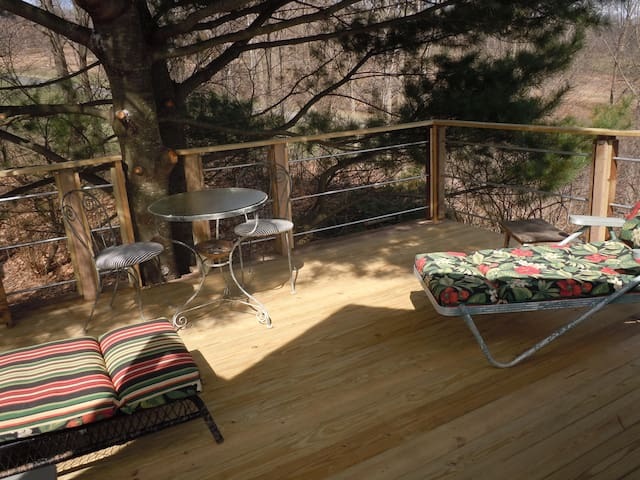 Deck with lounge chairs under white pine