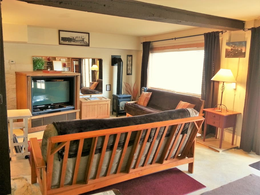 42 in LED TV, cable Wifi and DVD player with small video library, gas stove and 2 futons!