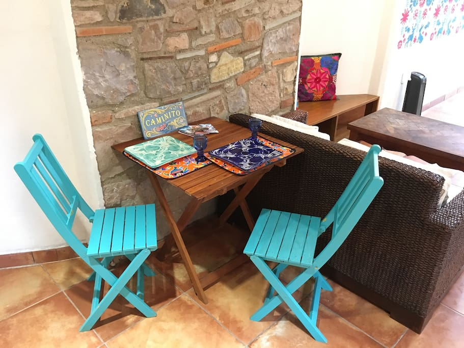 Folding chairs and table for inside or outside use