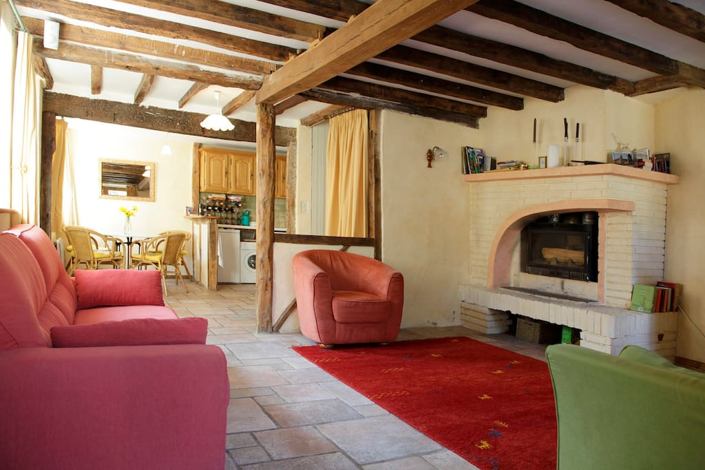 Salon with wood burning stove