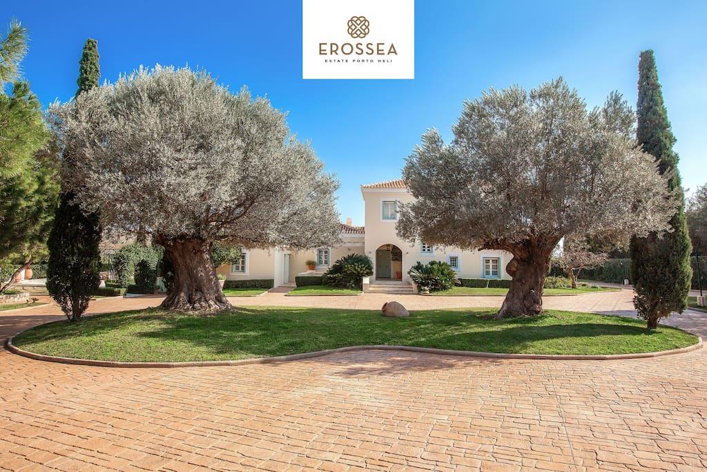 Erossea Estate Porto Heli front view ancient gardens