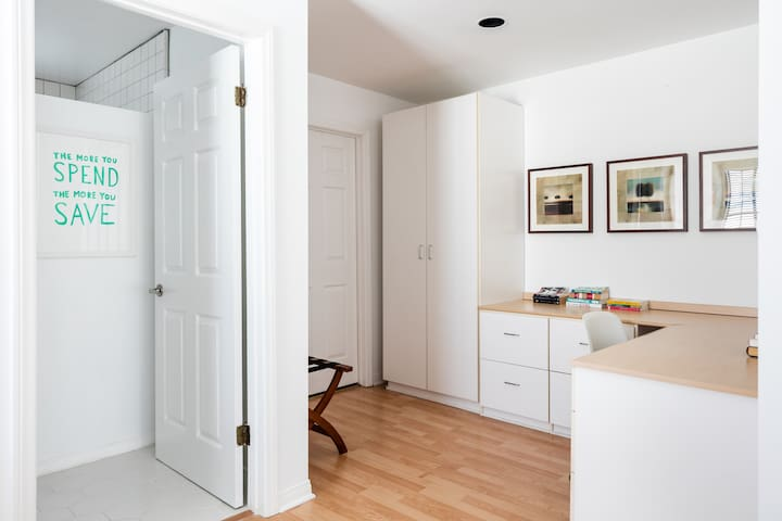 Walk in closet off office