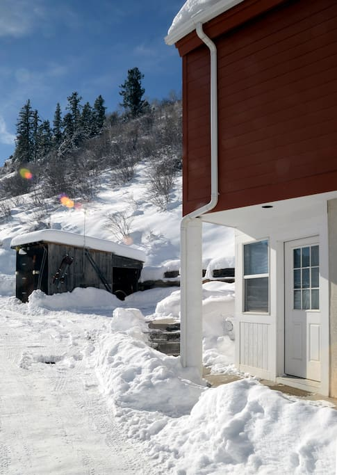 This is your front door.  A shed (surviving from an old ranch) is available for skis or other toys