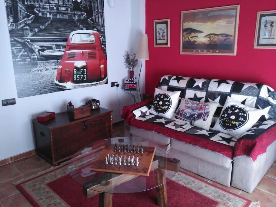 Sala de estar con sofá cama XL