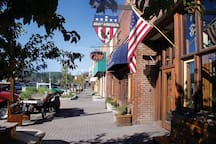 Historic Downtown Truckee, street view from East corner.