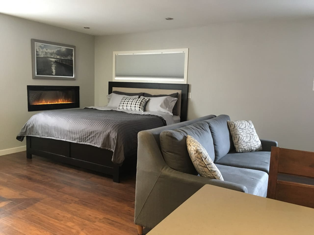 King size bed, pull out sofa bed, electric fireplace