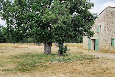 Maison de campagne au milieu de collines