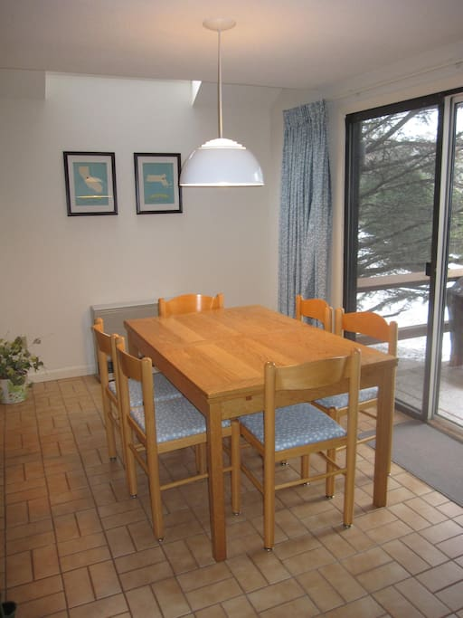 Dining area, table expands to seat 10