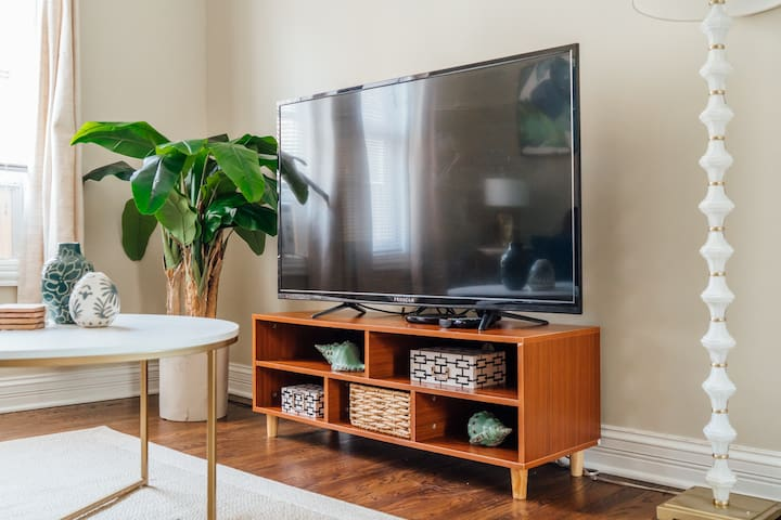 Our 50-inch TV has unlimited Netflix streaming, so you can finish that next season