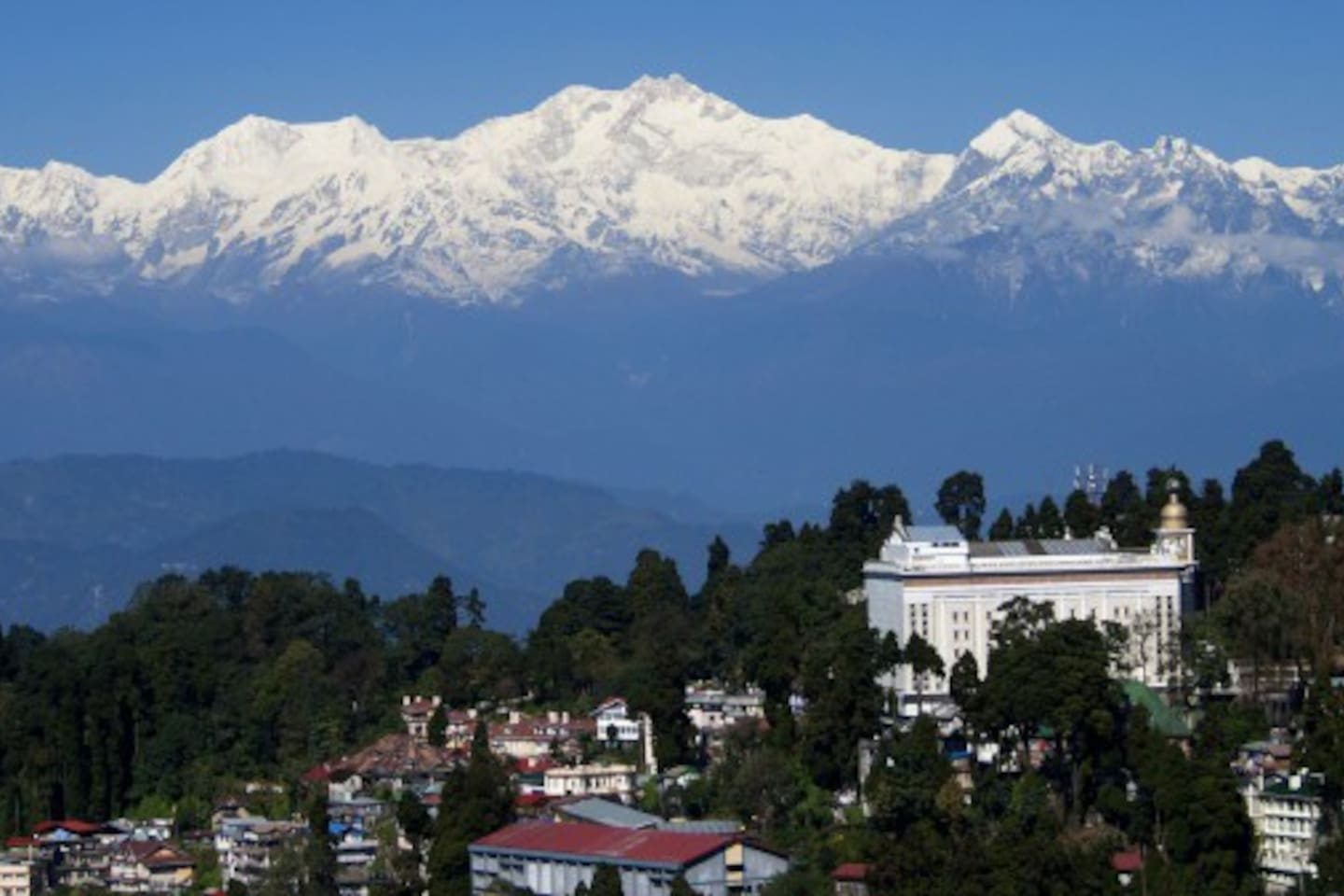 The mighty Kanchenjunga from roof top , on a clear day
