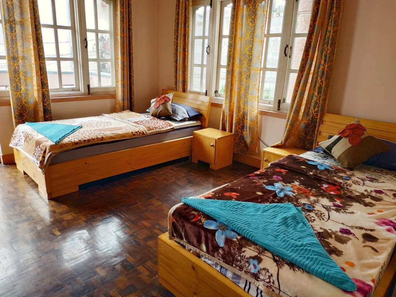 This twin beds room is good for two travellers or single person.