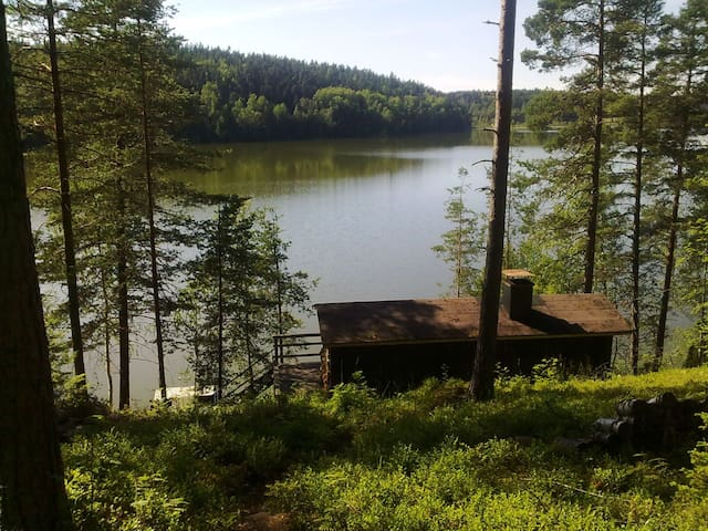 A small typical Finnish cabin by the lake