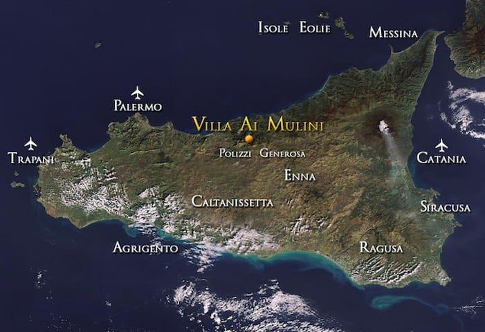 location of the villa in Sicily