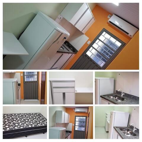 Mini flats mobiliado, completo com cozinha