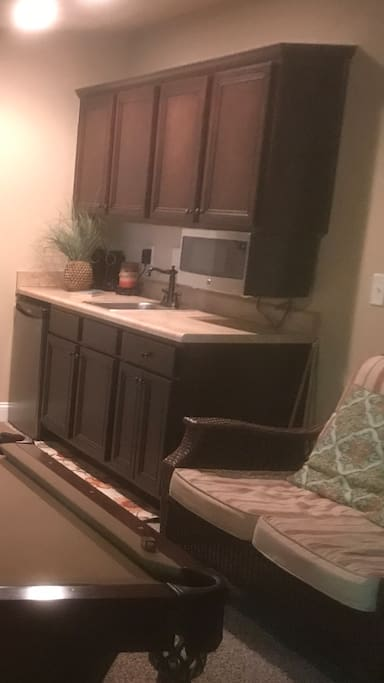 Wet bar, mini fridge, speakers, microwave, cabinets with utensils
