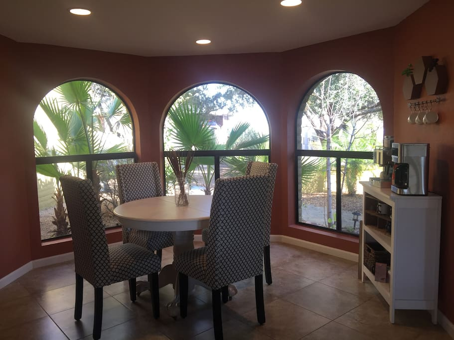 Breakfast nook with coffee and espresso bar.