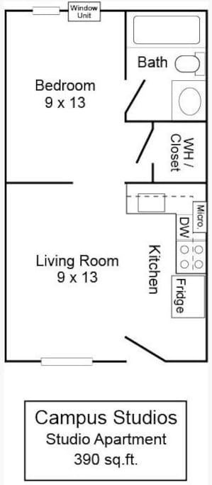 Architectural layout of studio