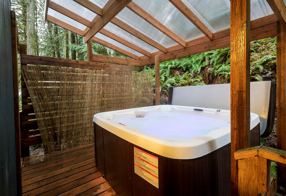6-7 person hot tub with 22 jets located on the back lower deck (very private and covered by polycarbonate roof for maximum light).  Built and installed Winter 2016.