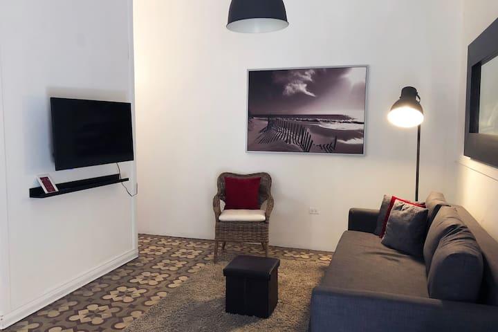 Vista de la sala donde podemos apreciar el sofá cama donde puede acomodar 2 personas con facilidad, contamos con Smart TV con sistema ROKU.
