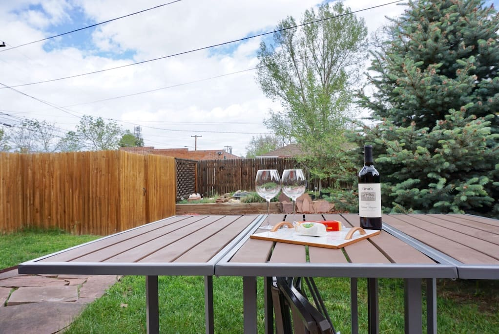 Enjoy cool evenings outside in our relaxing backyard