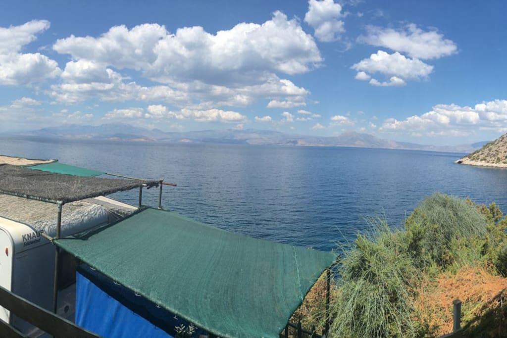 Panorama View of what you see from the caravan's sofa.