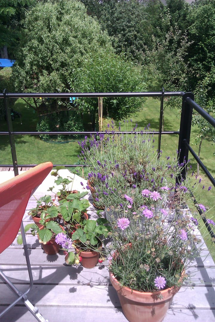 Room with cosy terrace close to city centre