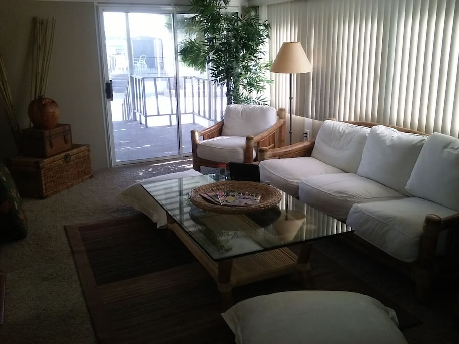 THIS IS THE LIVING ROOM IT COMES WITH THE BEST OF QUALITY BAMBOO FURNITURE WITH DEEP SEATED CUSHIONS THAT WILL CERTAINLY  SPOIL YOU.