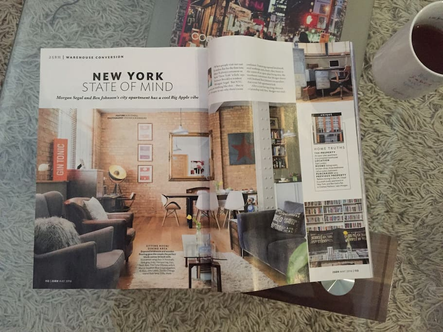 Our flat was just featured in the 25 Beautiful Homes magazine as spectacular warehouse conversion! May issue 2016!