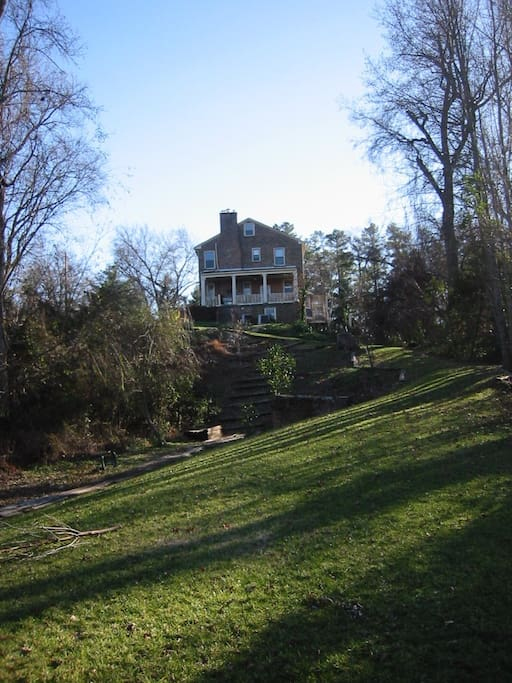 view from the Appomattox River looking up to the house.