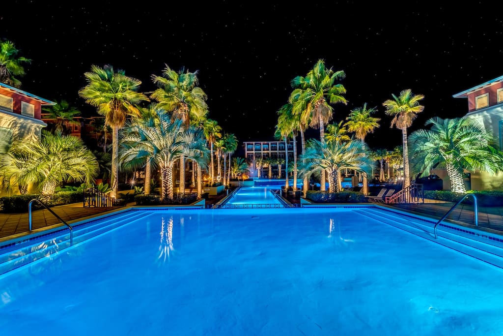 Complimentary passes to the spectacular 12,000 sq. ft Lagoon Pool, just 100 steps from your door, lots of fun by day & magical by night!