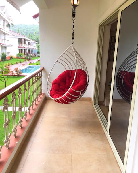 C1 North Goa Pet Friendly apart (Redrock Elegance)