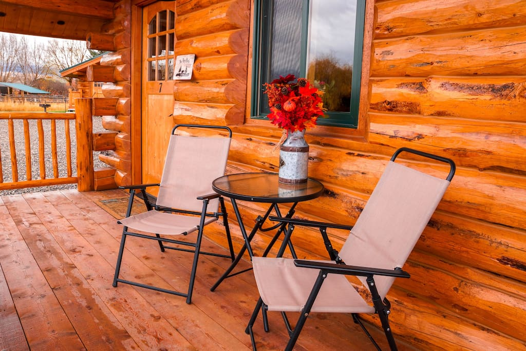 Relax, enjoy a glass of wine and enjoy a spectacular view of the Beaverhead Mountains from the comfort of your 6 foot deck and patio furniture.