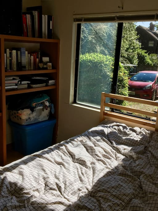 Bedroom, looking out the window.