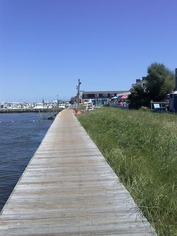 Boardwalk in front of house facing East