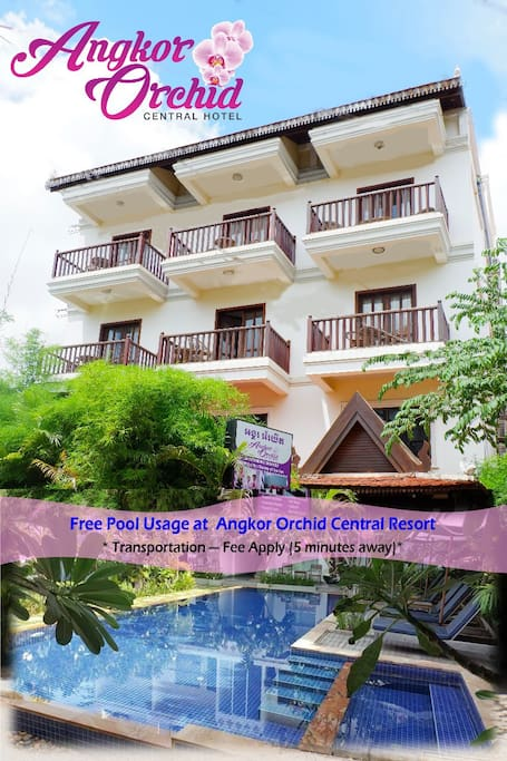 FREE usage of pool at our Angkor Orchid Central Resort - 5 minutes away by tuk-tuk from the hotel.  *Transportation fees apply
