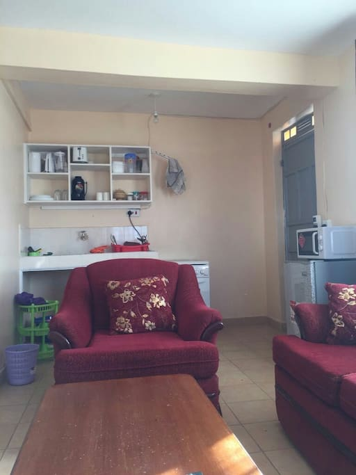 Well equipped open plan kitchenette with microwave,fridge,gas cooker with working oven, sandwich maker,blender toaster and a kettel