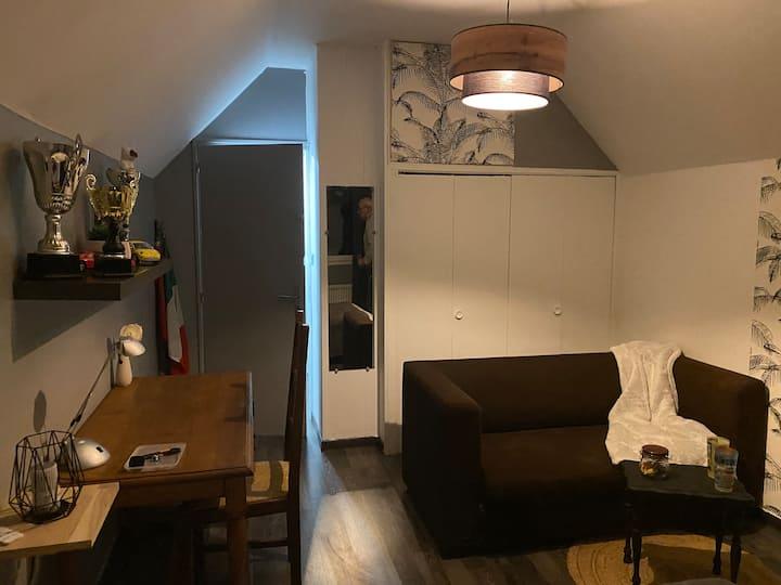 Chambre moderne avec salle de bain