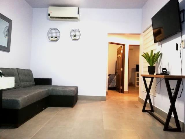 Sala con TV Sofacama y minisplit duo