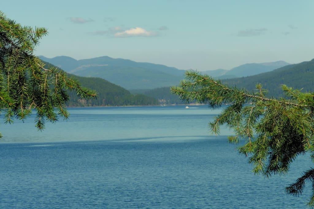This is a phot taken from our beach looking at beautiful Whitefish Lake.