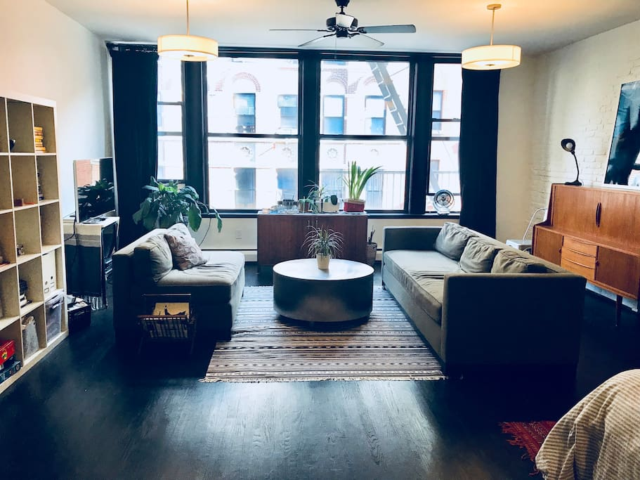 Open living room with wall of windows