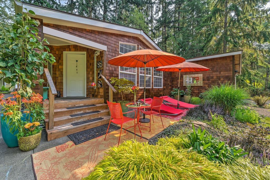 Enjoy the lush outdoor space from the front patio